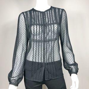 H-4:Ann Taylor Loft black lace button-up blouse 10